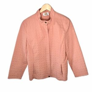 Talbots Quilted Jacket Peach Light Zippered Top